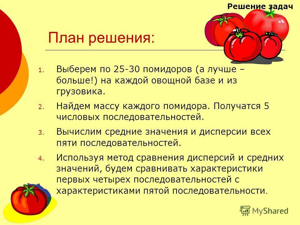 План решения: 1. Выберем по 25-30 помидоров (а лучше – больше!) на каждой овощной базе и из грузовика. 2. Найдем массу каждого помидора. Получатся 5 числовых последовательностей. 3. Вычислим средние значения и дисперсии всех пяти последовательностей.
