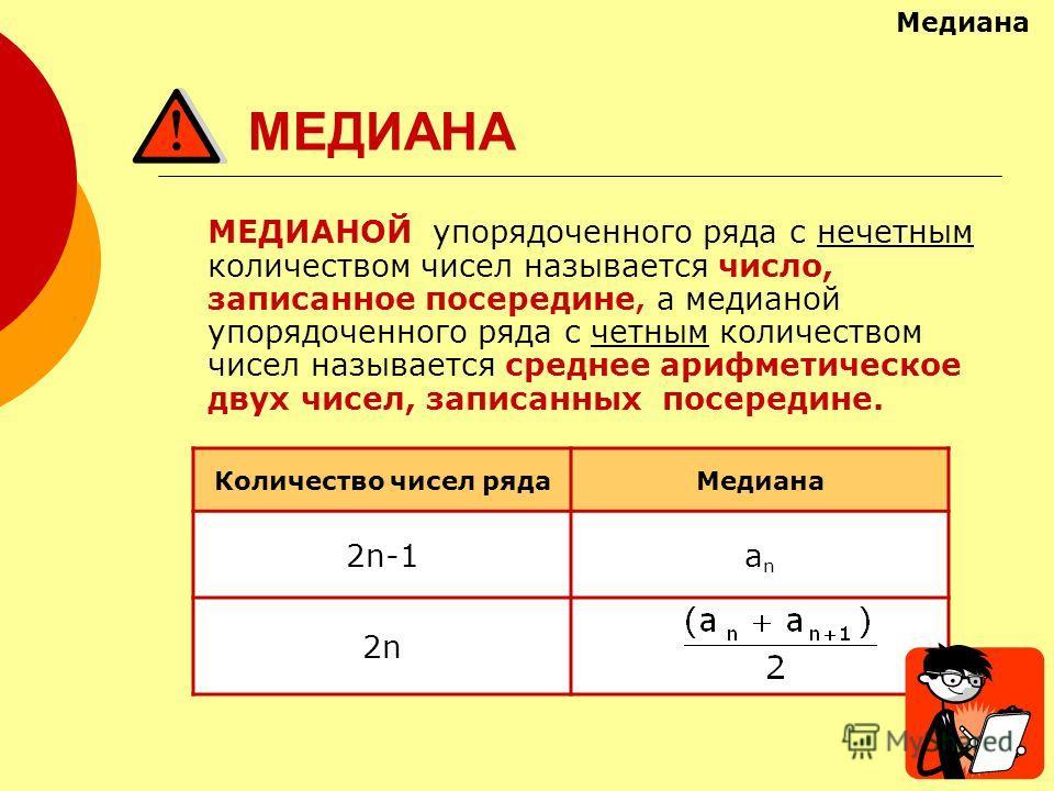 МЕДИАНА МЕДИАНОЙ упорядоченного ряда с нечетным количеством чисел называется число, записанное посередине, а медианой упорядоченного ряда с четным количеством чисел называется среднее арифметическое двух чисел, записанных посередине. Количество чисел