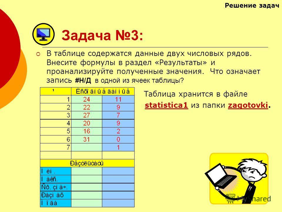 Задача 3: В таблице содержатся данные двух числовых рядов. Внесите формулы в раздел «Результаты» и проанализируйте полученные значения. Что означает запись #Н/Д в одной из ячеек таблицы? Таблица хранится в файле statistica1 из папки zagotovki.statist