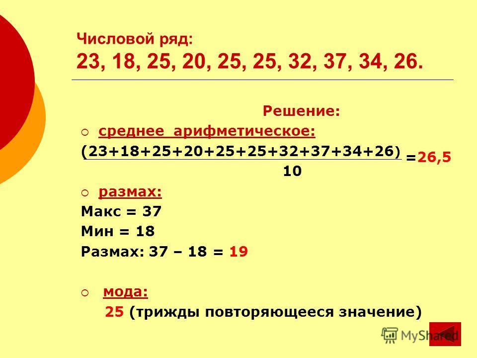 Числовой ряд: 23, 18, 25, 20, 25, 25, 32, 37, 34, 26. Решение: среднее арифметическое: (23+18+25+20+25+25+32+37+34+26 ) =26,5 10 размах: Макс = 37 Мин = 18 Размах: 37 – 18 = 19 мода: 25 (трижды повторяющееся значение)