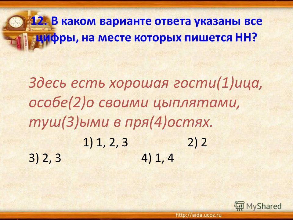 12. В каком варианте ответа указаны все цифры, на месте которых пишется НН? Здесь есть хороша я гости(1)лица, особе(2)о своими цыплятами, туш(3)ими в пря(4)остях. 1) 1, 2, 3 2) 2 3) 2, 3 4) 1, 4