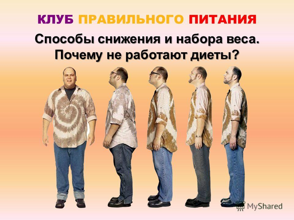 Способы снижения и набора веса. Почему не работают диеты? КЛУБ ПРАВИЛЬНОГО ПИТАНИЯ