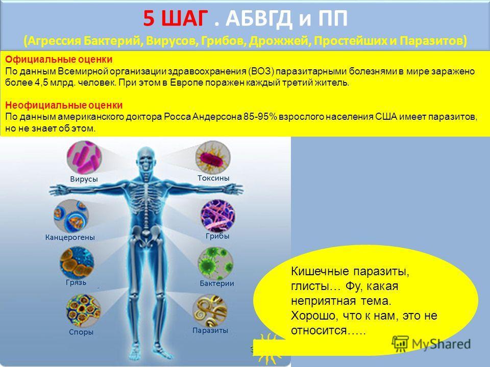 5 ШАГ. АБВГД и ПП (Агрессия Бактерий, Вирусов, Грибов, Дрожжей, Простейших и Паразитов) 5 ШАГ. АБВГД и ПП (Агрессия Бактерий, Вирусов, Грибов, Дрожжей, Простейших и Паразитов) Кишечные паразиты, глисты… Фу, какая неприятная тема. Хорошо, что к нам, э