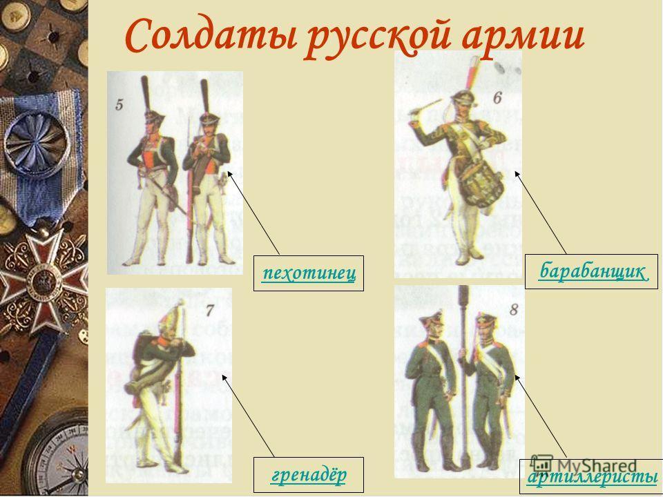 Солдаты русской армии пехотинец гренадёр артиллеристы барабанщик