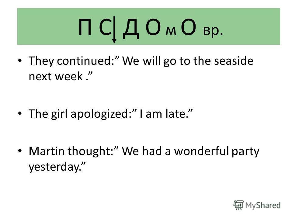 П С Д О м О вр. They continued: We will go to the seaside next week. The girl apologized: I am late. Martin thought: We had a wonderful party yesterday.