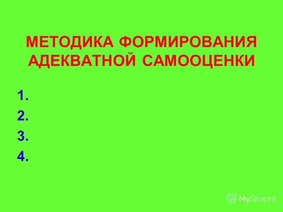 МЕТОДИКА ФОРМИРОВАНИЯ АДЕКВАТНОЙ САМООЦЕНКИ 1. 2. 3. 4.