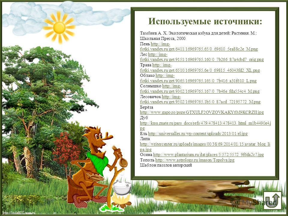 Используемые источники: Тамбиев А. Х. Экологическая азбука для детей: Растения. М.: Школьная Пресса, 2000 Пень http://img- fotki.yandex.ru/get/6411/16969765.65/0_69610_5ea88c2e_M.pnghttp://img- fotki.yandex.ru/get/6411/16969765.65/0_69610_5ea88c2e_M.