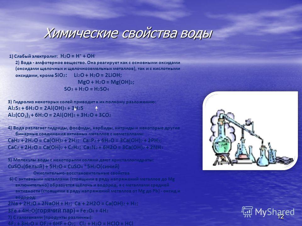 Химические свойства воды Химические свойства воды 12 1) Слабый электролит: H 2 O = H + + OH - 2) Вода - амфотерное вещество. Она реагирует как с основными оксидами (оксидами щелочных и щелочноземельных металлов), так и с кислотными оксидами, кроме Si