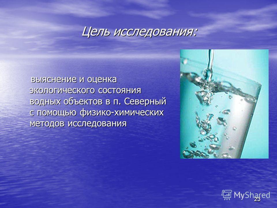 23 Цель исследования: выяснение и оценка экологического состояния водных объектов в п. Северный с помощью физико-химических методов исследования выяснение и оценка экологического состояния водных объектов в п. Северный с помощью физико-химических мет