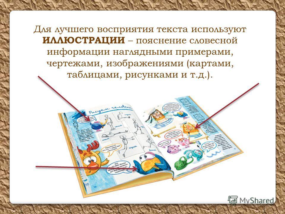 Для лучшего восприятия текста используют ИЛЛЮСТРАЦИИ – пояснение словесной информации наглядными примерами, чертежами, изображениями (картами, таблицами, рисунками и т.д.).
