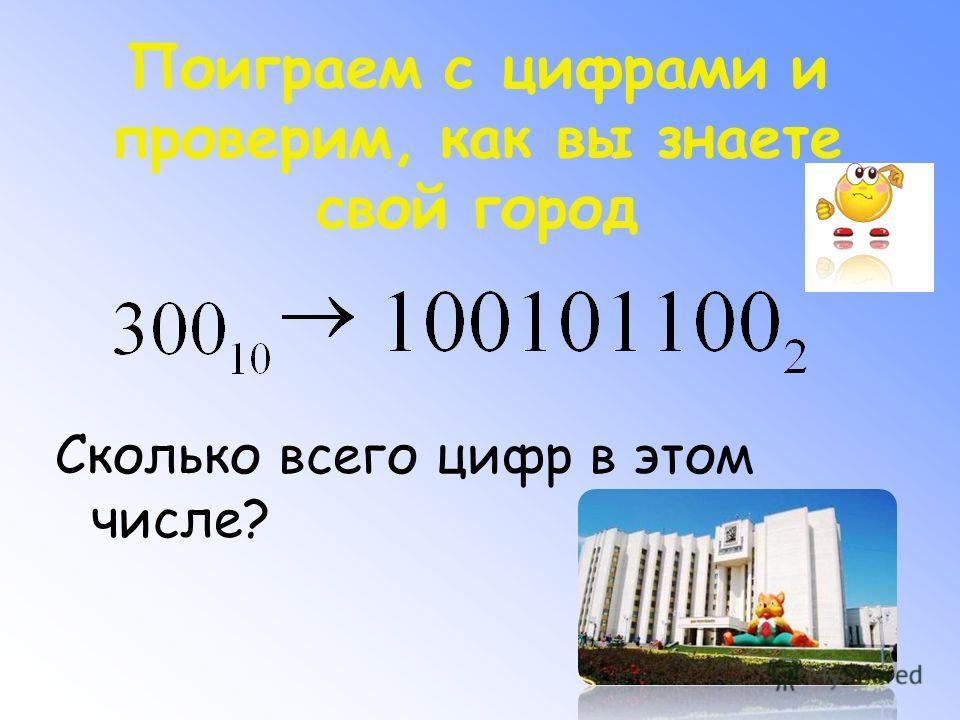 Поиграем с цифрами и проверим, как вы знаете свой город Сколько всего цифр в этом числе?
