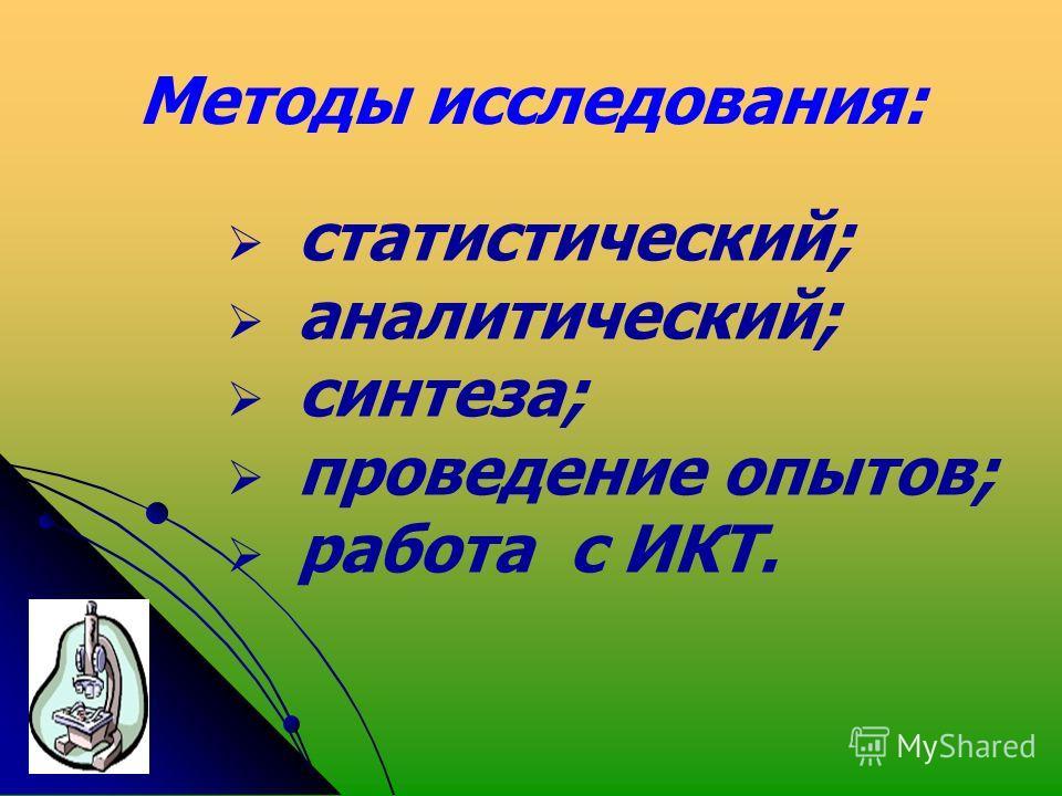 Методы исследования: статистический; аналитический; синтеза; проведение опытов; работа с ИКТ.