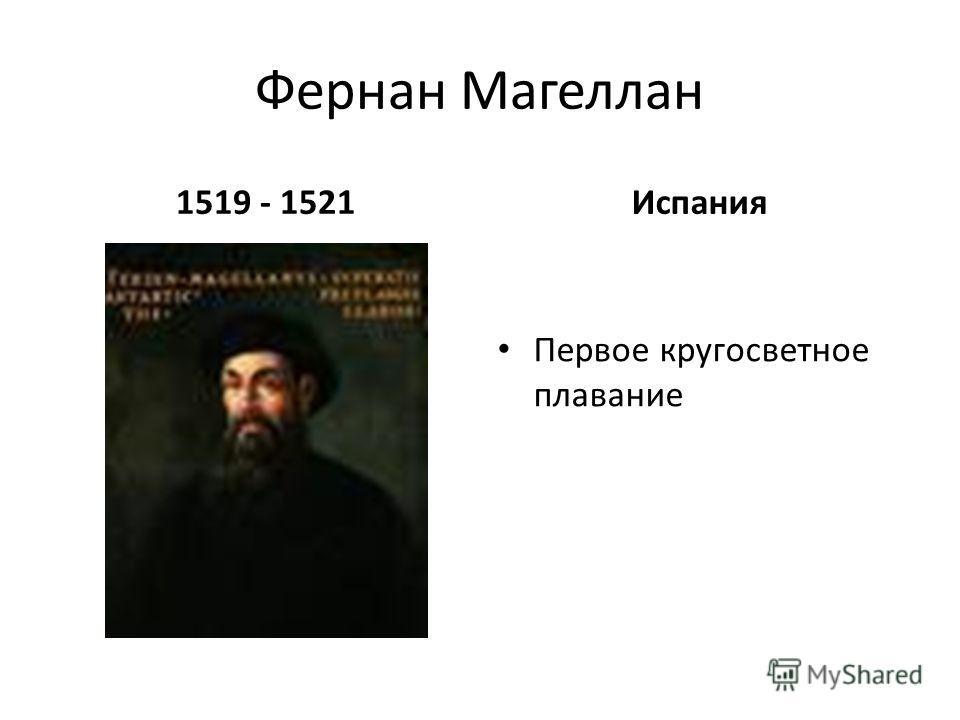 Фернан Магеллан 1519 - 1521Испания Первое кругосветное плавание