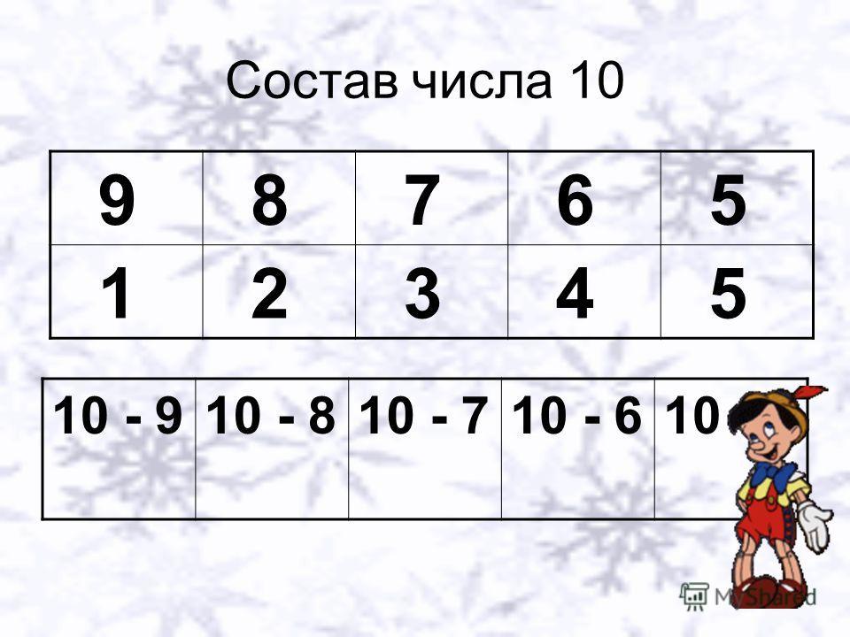 Состав числа 10 9 8 7 6 5 1 2 3 4 5 10 - 910 - 810 - 710 - 610 - 5