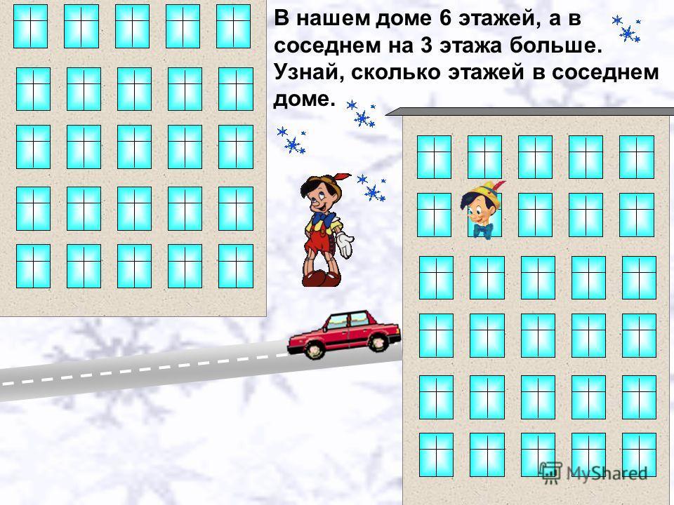 В нашем доме 6 этажей, а в соседнем на 3 этажа больше. Узнай, сколько этажей в соседнем доме.