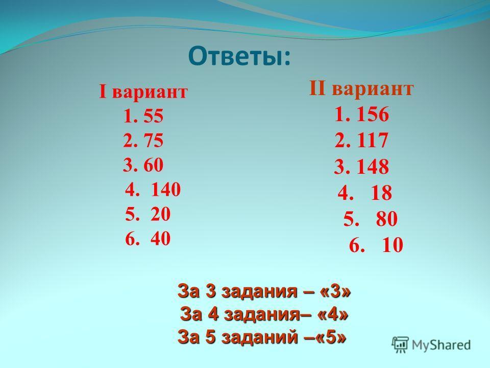 Ответы: I вариант 1. 55 2. 75 3. 60 4. 140 5. 20 6. 40 II вариант 1. 156 2. 117 3. 148 4. 18 5. 80 6. 10 За 3 задания – «3» За 3 задания – «3» За 4 задания– «4» За 4 задания– «4» За 5 заданий –«5» За 5 заданий –«5»