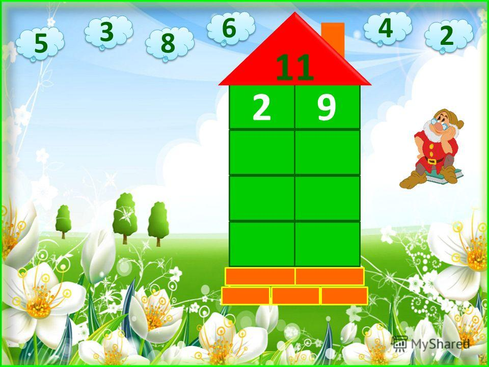 Ребята, в сказочном домике живут числа. Найдите соседа на каждом этаже, чтобы в сумме получилось 11.