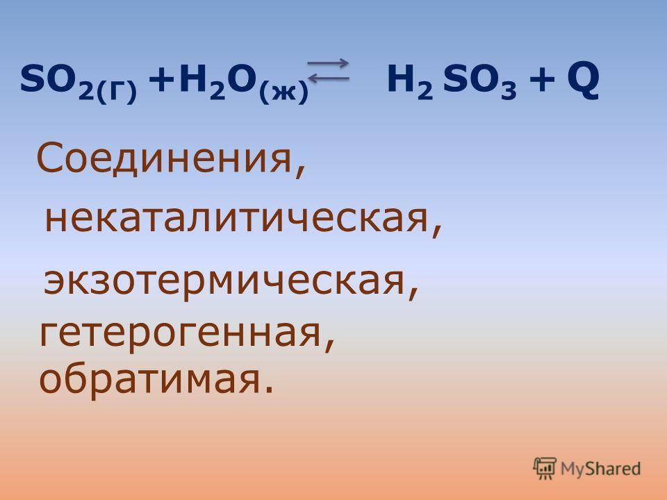 SO 2(Г) +Н 2 O (ж) Н 2 SO 3 + Q Соединения, некаталитическая, экзотермическая, гетерогенная, обратимая.
