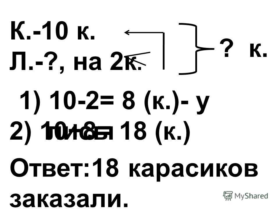 К.-10 к. Л.-?, на 2 к. ? к. 1) 10-2= 8 (к.)- у лисы Ответ:18 карасиков заказали. 2) 10+8= 18 (к.)