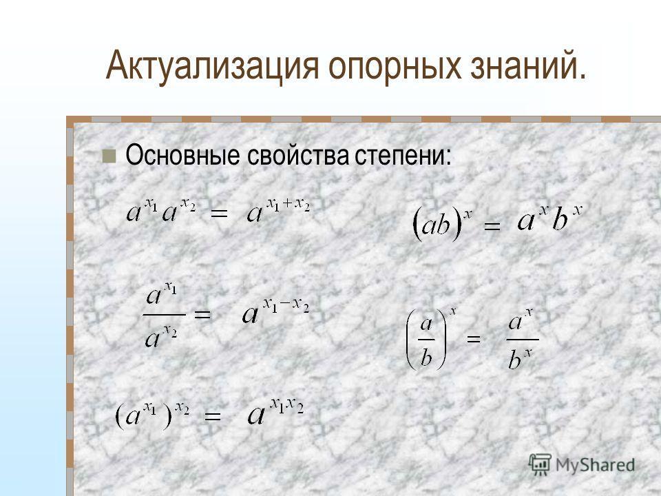Актуализация опорных знаний. Основные свойства степени: