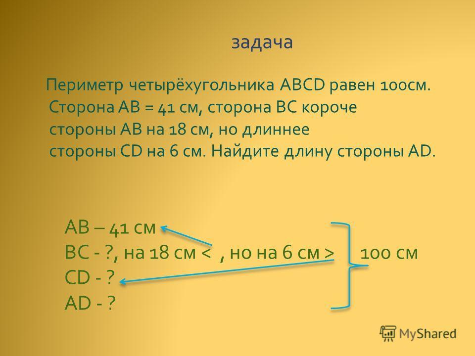 задача Периметр четырёхугольника ABCD равен 100 см. Сторона AB = 41 см, сторона ВС короче стороны АВ на 18 см, но длиннее стороны CD на 6 см. Найдите длину стороны AD. AB – 41 см BC - ?, на 18 см 100 см CD - ? AD - ?