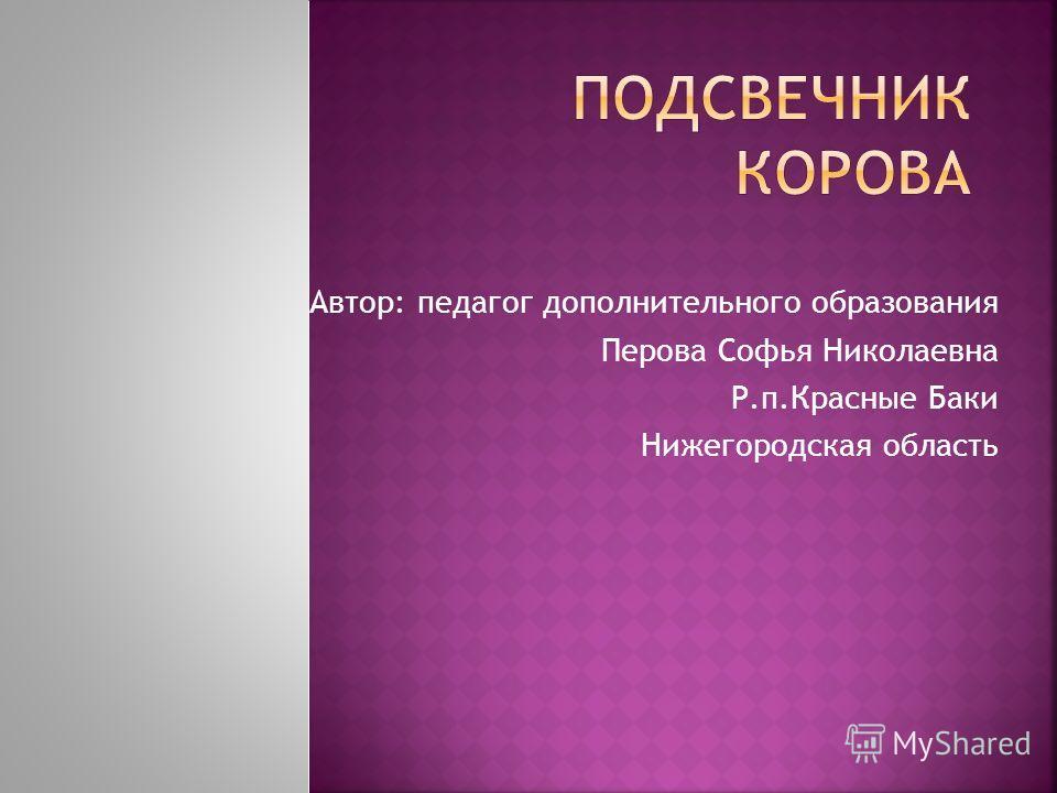 Автор: педагог дополнительного образования Перова Софья Николаевна Р.п.Красные Баки Нижегородская область