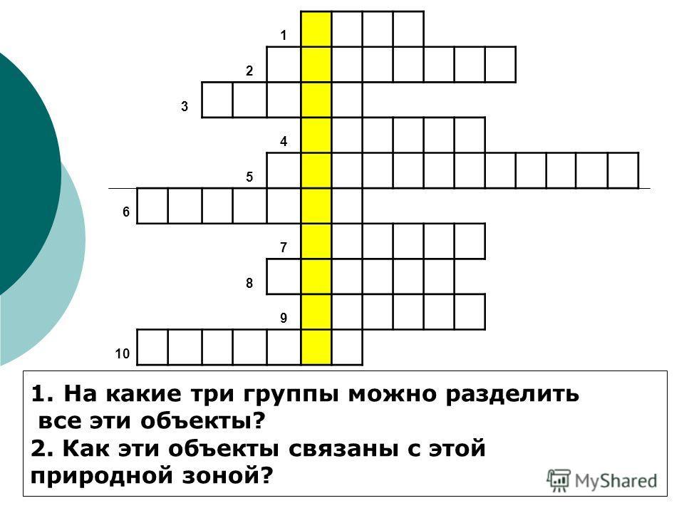 1 2 3 4 5 6 7 8 9 10 1. На какие три группы можно разделить все эти объекты? 2. Как эти объекты связаны с этой природной зоной?