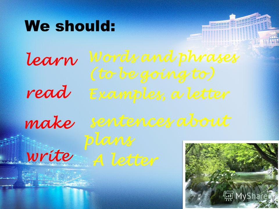 We should: learn Words and phrases (to be going to) read Examples, a letter make sentences about plans write A letter