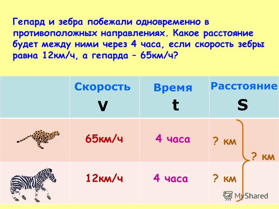 65 км/ч 12 км/ч Скорость V Время t Расстояние S 4 часа ? км Гепард и зебра побежали одновременно в противоположных направлениях. Какое расстояние будет между ними через 4 часа, если скорость зебры равна 12 км/ч, а гепарда – 65 км/ч?