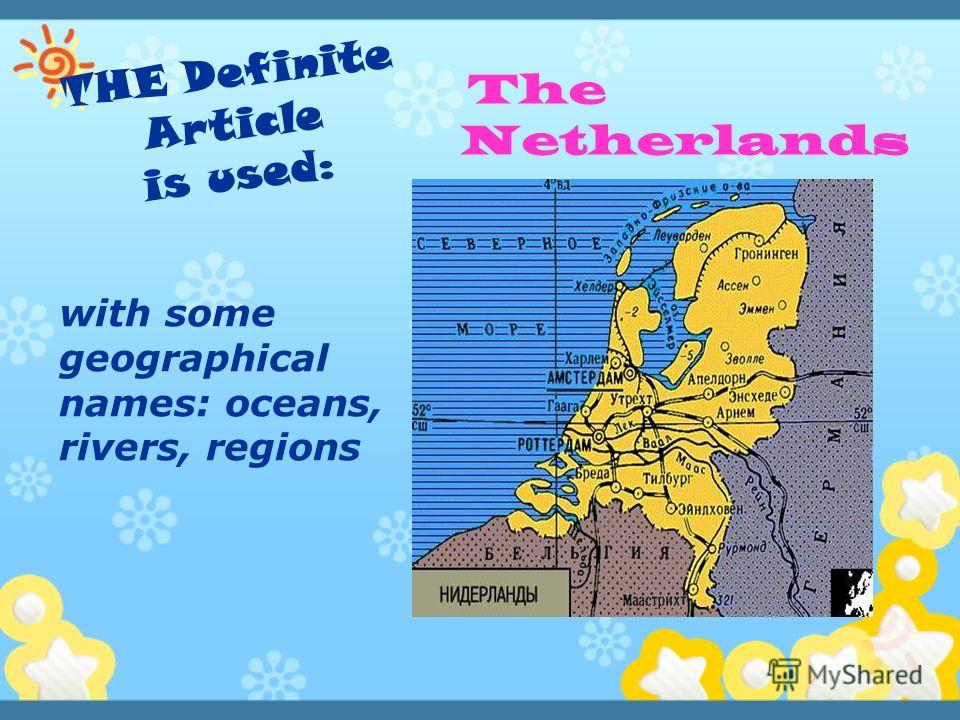 The Netherlands with some geographical names: oceans, rivers, regions
