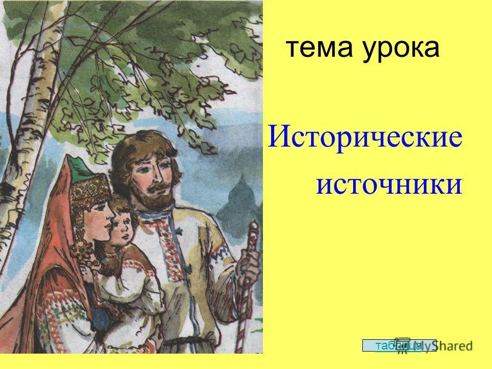 тема урока Исторические источники таблица