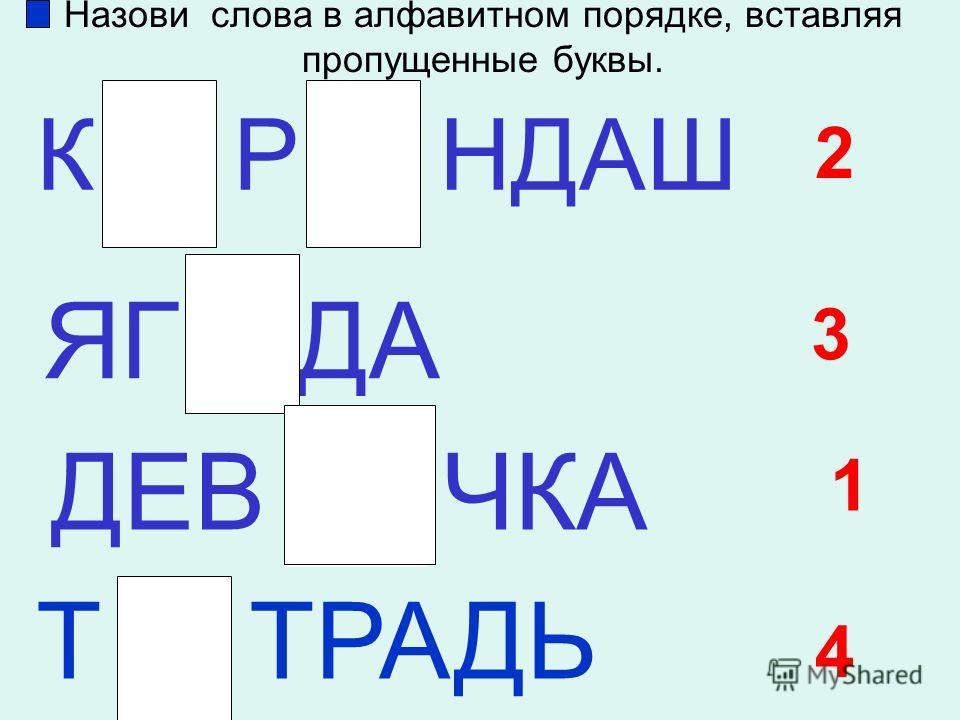 Назови слова в алфавитном порядке, вставляя пропущенные буквы. К Р НДАШ ЯГ ДА ДЕВ ЧКА Т ТРАДЬ 1 2 3 4