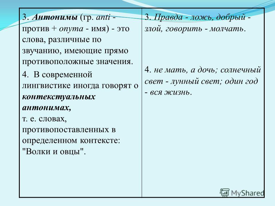 3. Антонимы (гр. anti - против + onyma - имя) - это слова, различные по звучанию, имеющие прямо противоположные значения. 4. В современной лингвистике иногда говорят о контекстуальных антонимах, т. е. словах, противопоставленных в определенном контек