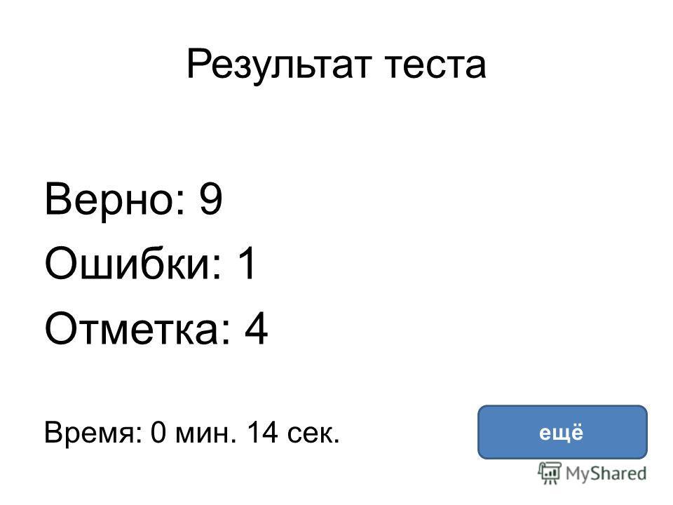 Результат теста Верно: 9 Ошибки: 1 Отметка: 4 Время: 0 мин. 14 сек. ещё