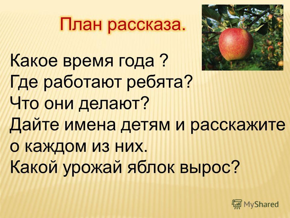 Какое время года ? Где работают ребята? Что они делают? Дайте имена детям и расскажите о каждом из них. Какой урожай яблок вырос?