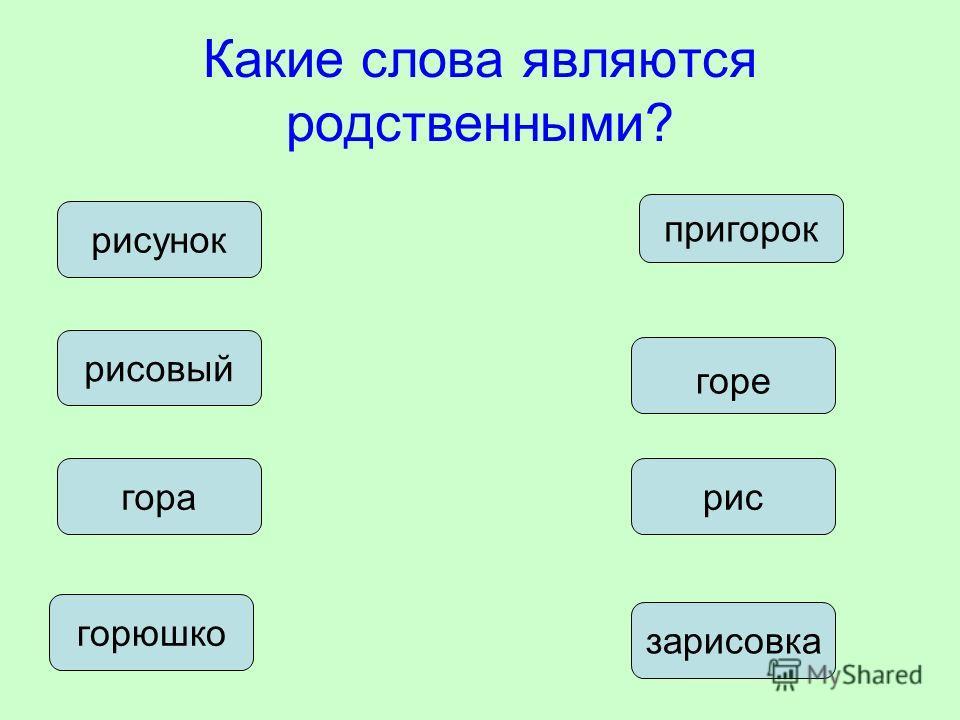 Какие слова являются родственными? рисовый пригорок рисгора горе зарисовка горюшко рисунок
