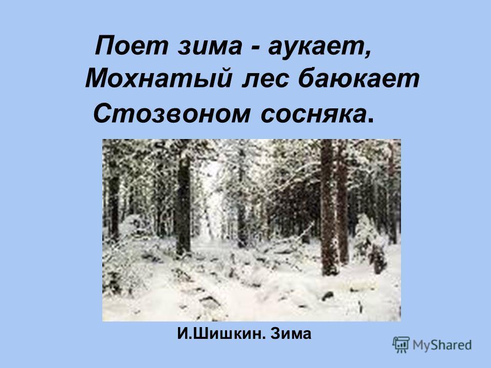 Поет зима - аукает, Мохнатый лес баюкает Стозвоном сосняка. И.Шишкин. Зима