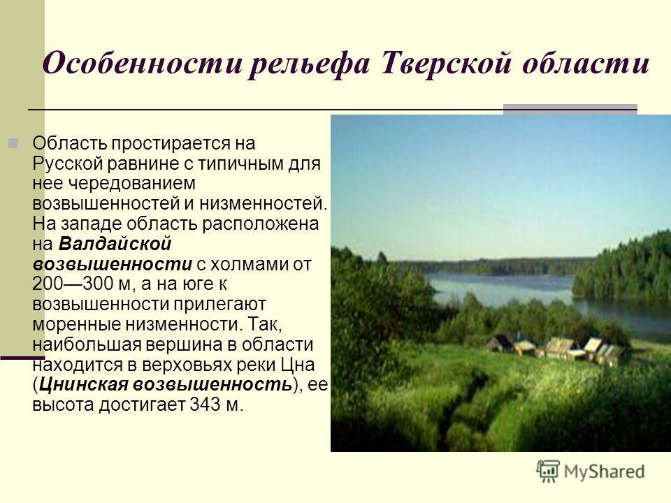 Область простирается на Русской равнине с типичным для нее чередованием возвышенностей и низменностей. На западе область расположена на Валдайской возвышенности с холмами от 200300 м, а на юге к возвышенности прилегают моренные низменности. Так, наиб