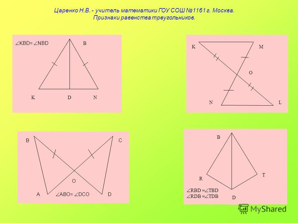 BC AD O ABO= DCO B T R D RBD = TBD RDB = TDB K O NL M B KDN KBD= NBD Царенко Н.В. - учитель математики ГОУ СОШ 1161 г. Москва. Признаки равенства треугольников.