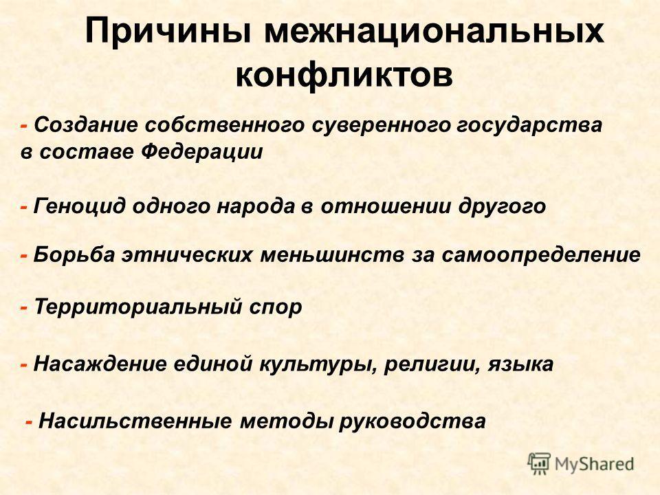 Причины межнациональных конфликтов - Создание собственного суверенного государства в составе Федерации - Геноцид одного народа в отношении другого - Борьба этнических меньшинств за самоопределение - Территориальный спор - Насаждение единой культуры,