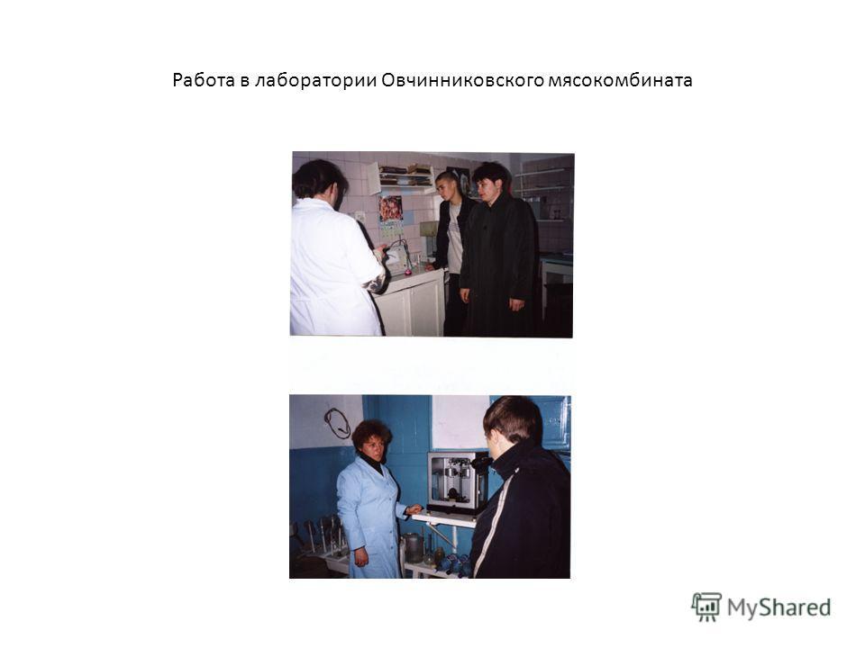 Работа в лаборатории Овчинниковского мясокомбината