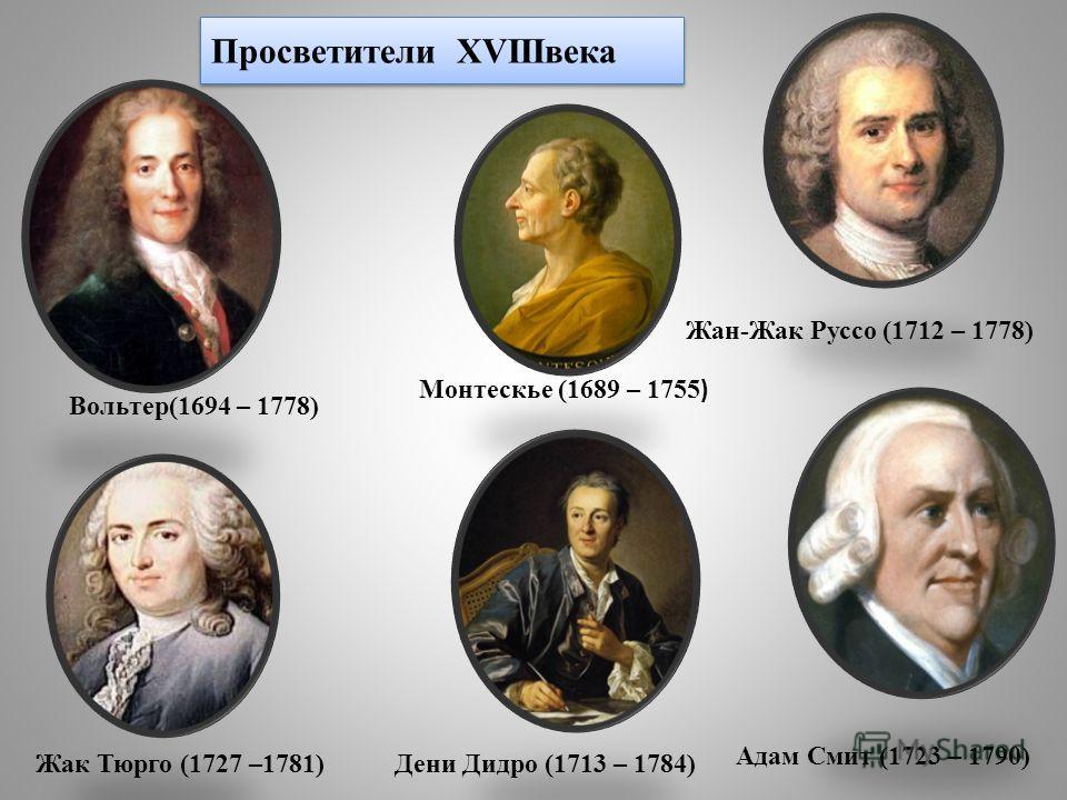 Просветители XVIIIвека Жак Тюрго (1727 –1781) Монтескье (1689 – 1755 ) Дени Дидро (1713 – 1784) Жан-Жак Руссо (1712 – 1778) Адам Смит (1723 – 1790) Вольтер(1694 – 1778)