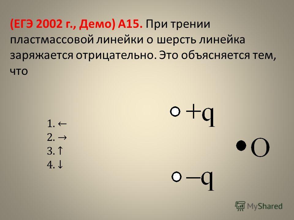 (ЕГЭ 2002 г., Демо) А15. При трении пластмассовой линейки о шерсть линейка заряжается отрицательно. Это объясняется тем, что 1. 2. 3. 4.