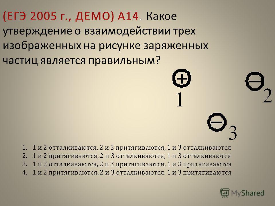 1.1 и 2 отталкиваются, 2 и 3 притягиваются, 1 и 3 отталкиваются 2.1 и 2 притягиваются, 2 и 3 отталкиваются, 1 и 3 отталкиваются 3.1 и 2 отталкиваются, 2 и 3 притягиваются, 1 и 3 притягиваются 4.1 и 2 притягиваются, 2 и 3 отталкиваются, 1 и 3 притягив