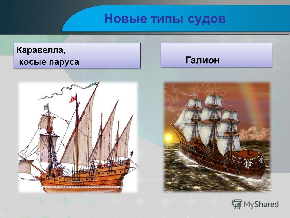 Новые типы судов Каравелла, косые паруса Каравелла, косые паруса Галион