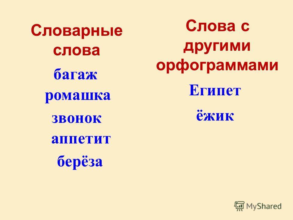 Словарные слова Слова с другими орфограммами багаж Египет ромашка ёжик звонок аппетит берёза