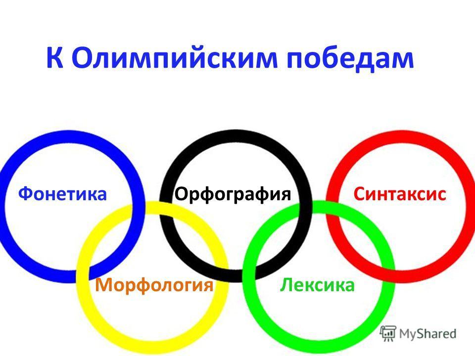 К Олимпийским победам Фонетика Орфография Синтаксис Морфология Лексика