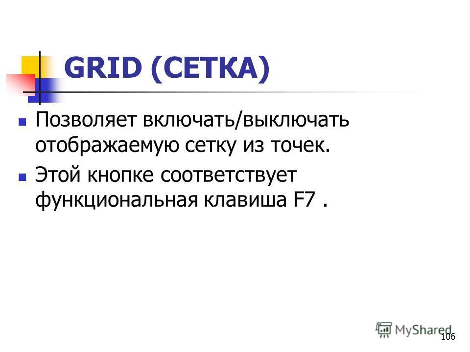 106 GRID (СЕТКА) Позволяет включать/выключать отображаемую сетку из точек. Этой кнопке соответствует функциональная клавиша F7.