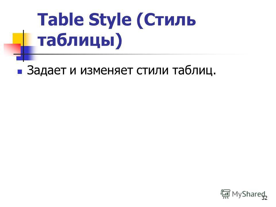 32 Table Style (Стиль таблицы) Задает и изменяет стили таблиц.