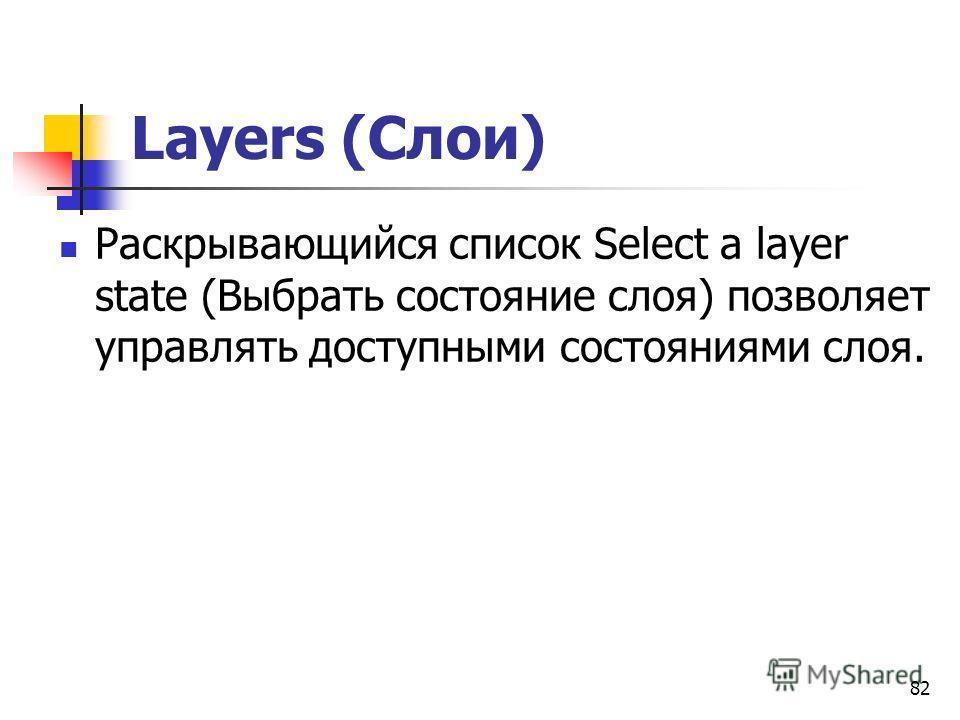 82 Layers (Слои) Раскрывающийся список Select a layer state (Выбрать состояние слоя) позволяет управлять доступными состояниями слоя.